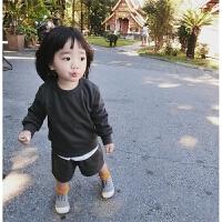 女童春季新款洋气卫衣套装儿童宝宝纯色家居休闲上衣短裤两件套