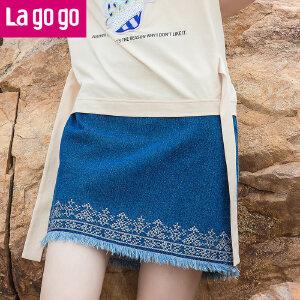 Lagogo2017夏季新款简约蓝色毛边高腰牛仔半身裙女细腰带百搭短裙