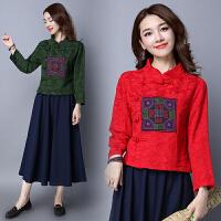 民族风女装春装旗袍上衣绣花中式复古中国风棉麻长袖立领修身上衣