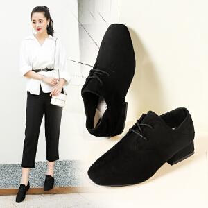 ZHR粗跟单鞋女秋季2017新款英伦风女鞋中跟百搭休闲鞋黑色工作鞋Y26
