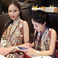 上海故事新款秋冬披肩围巾女冬季韩版女士百搭印花140规格大方巾