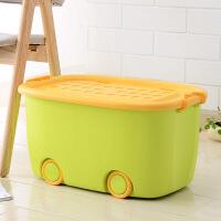 新款家居特大号收纳箱玩具收纳箱塑料整理箱儿童有盖卡通收纳盒滑轮衣物储物箱子