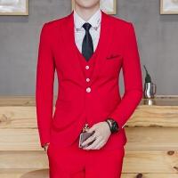 新品18四季款男士韩版修身绣花西服套装潮流青年红色结婚免烫两件