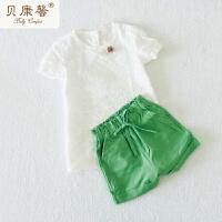 [当当自营]贝康馨新款夏装 女童纯色棉麻短裤