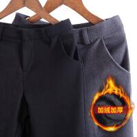 西装裤女直筒工作裤工装裤秋冬季工裤黑色上班加绒职业西裤加厚款 X