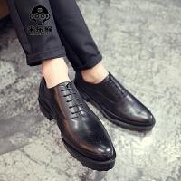 米乐猴 新品雕花皮鞋复古英伦潮鞋鞋尖头休闲鞋男鞋