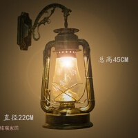 仿古马灯阳台户外防水怀旧工业风墙壁灯创意个性LED复古煤油灯具 加厚型 大号青古铜+LED 5W灯泡