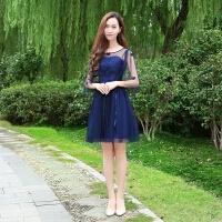 伴娘礼服女2018新款韩版姐妹团伴娘服中袖灰色显瘦一字肩连衣裙短 网纱中袖款藏蓝色 V054#