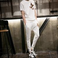 夏季男士运动跑步套装潮流韩版新款两件套青年休闲卫衣运动服