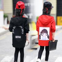 2019 秋季儿童女童男童双面穿韩版外套夹克风衣 正反穿