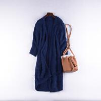 【直降】1.5斤重J@12 韩版中长款开衫针织衫秋季破洞毛线外套