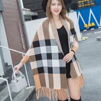 秋冬季围巾空调披肩两用韩版百搭长款带袖子春夏斗篷女士披风外套