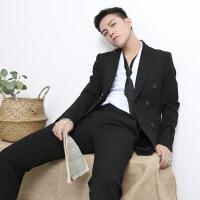 2018新品双排扣西服套装男冬季韩版修身商务休闲小西装两件套