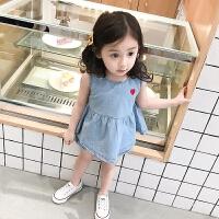 女童爱心套装夏季新款宝宝背心裙+短裤儿童洋气牛仔两件套潮