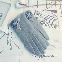 羊毛手套女加绒加厚保暖韩版可爱修手开车薄款触屏分指羊绒手套女