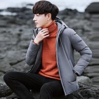 棉衣冬季男士韩版潮流羽绒棉外套青少年学生纯色简约连帽短款棉袄子