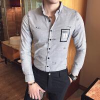 春装新款时尚休闲男士修身衬衣韩版修身印花英伦风长袖衬衫潮