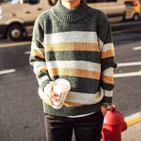 冬季加厚条纹毛衣男韩版修身半高领粗针毛衣男针织衫男打底