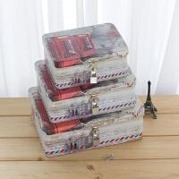 20180924205014022创意小清新带锁收纳铁盒 桌面收纳整理储物盒 半岛铁盒 密码盒 乳白色 电话亭