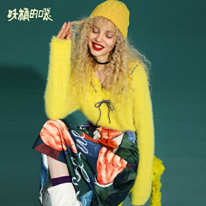 【尾品汇大促】妖精的口袋Y早秋套头毛衣女冬装2018新款chic短款通勤长袖针织衫
