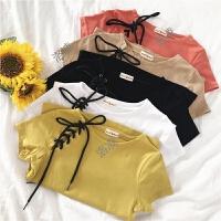 夏装新款女装韩版小清新系带T恤修身显瘦短袖百搭甜美学生上衣女
