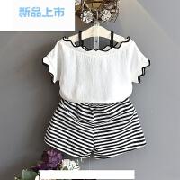 2018夏季女童韩版童装雪纺波浪边露肩短袖+条纹短裤宝宝两件套装