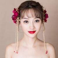 结婚礼婚纱礼服配饰品新娘头饰流苏红色日韩对夹边夹发饰