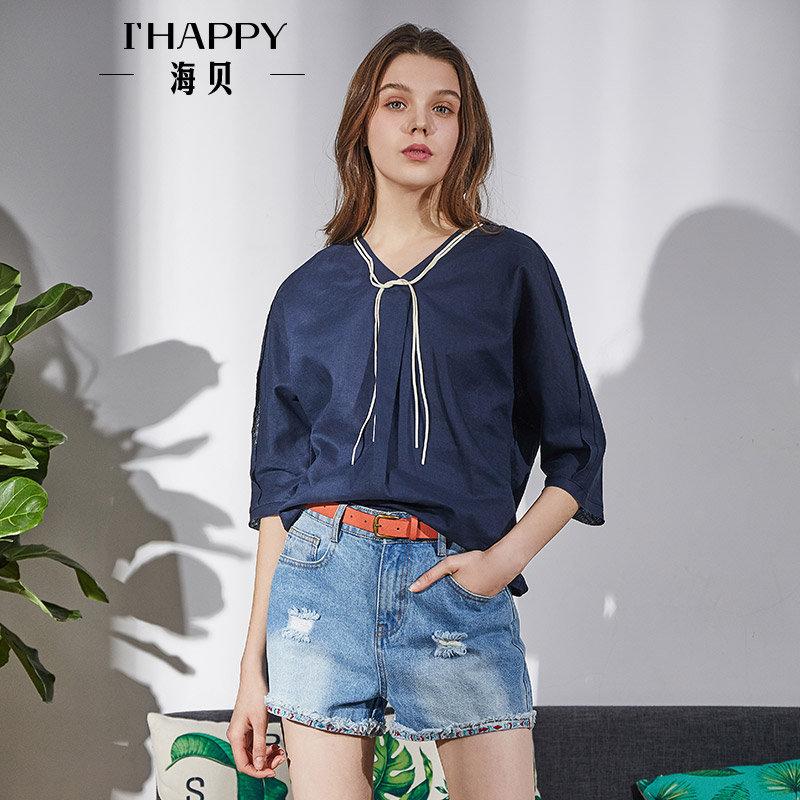 海贝2018春季新款女装上衣 纯色V领系带中袖套头休闲衬衫小衫