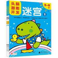 头脑潜能开发5-6岁走迷宫 小红花 书籍宝宝智力开发专注力训练图书儿童大迷宫幼儿左右脑开发好玩简单动脑套装