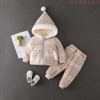 婴儿冬装套装0-1岁棉衣洋气韩版2小孩衣服加厚男女宝宝帅气两件套