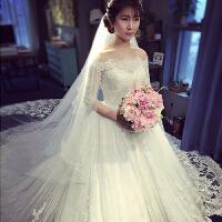 婚纱礼服2018新款新娘结婚一字肩齐地公主梦幻甜美大拖尾婚纱