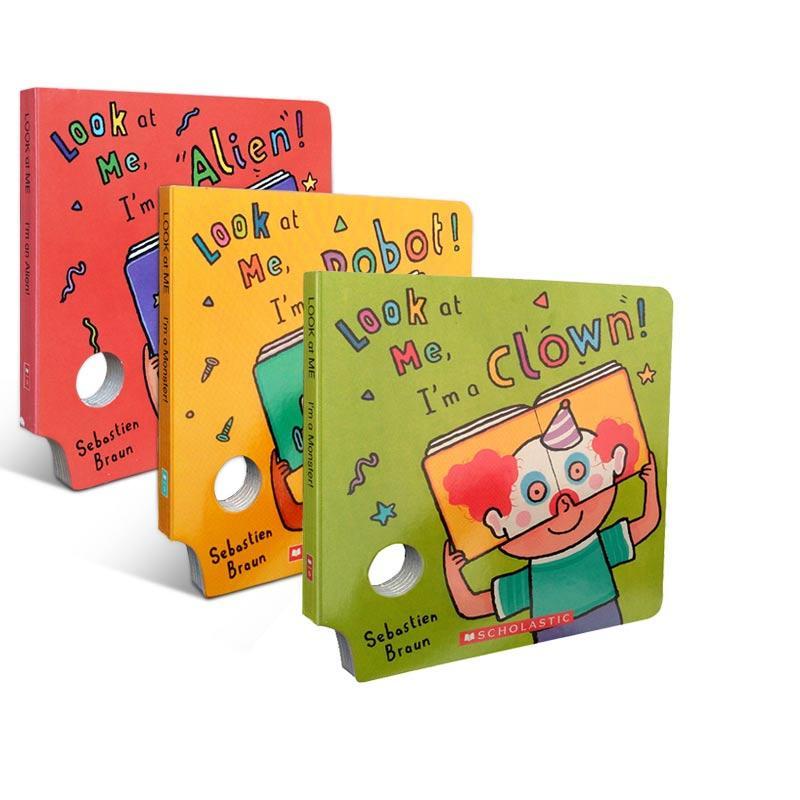 英文原版 Look at me 3本 吴敏兰推荐 儿童面具纸板书 送音频 0-6岁想象力社交能力锻炼益智启蒙图书
