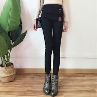 加绒打底裤女秋冬新款韩版纯色修身显瘦小脚裤百搭长裤