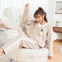 秋季珊瑚绒睡衣女冬天保暖加厚宽松大码可爱法兰绒家居服女士套装