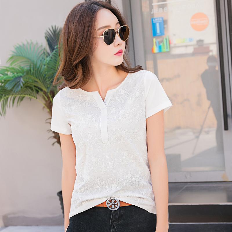 韩版女装夏季新款上衣T恤短袖女修身棉质半袖大码夏季体恤衫