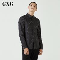 【GXG过年不打烊】GXG长袖衬衫男装 秋季男士时尚潮流休闲青年流行黑色修身长袖衬衫