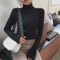 高领毛衣女秋冬打底衫2018新款韩版潮流内搭堆堆领黑色长袖加厚套头针织衫