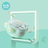 可优比儿童餐具婴儿碗勺套装辅食碗吸盘碗饭碗宝宝吃饭注水保温碗 嫩芽绿