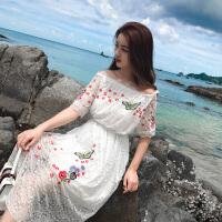 夏季绣花蕾丝中长款裙子连衣裙中休闲百搭沙滩白色时尚夏天一字领