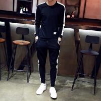 男士长袖T恤春季韩版休闲运动套装2018新款潮流帅气春装男装卫衣