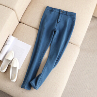 大码女装冬装新款基本款小脚裤黄金绒棉裤加绒加厚牛仔裤长裤