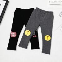 儿童北极绒厚实温暖打底裤韩版印花长裤保暖舒适裤子潮