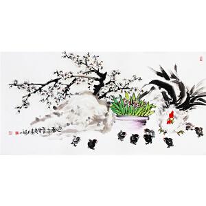 冯云龙《迎春》著名画家 有作者本人授权 带收藏证书
