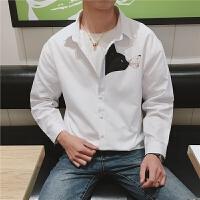 春秋新款男士休闲长袖纯色衬衫外套韩版青年衬衣学生衣服潮流