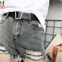 无孔腰带女宽 百搭金扣装饰学生皮带潮流时尚个性裤带黑白色