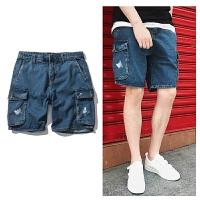 夏季新款韩版宽松印花多口袋工装牛仔短裤男潮