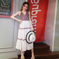 夏装新款修身小性感深V领民族风连衣裙波西米亚度假风长裙