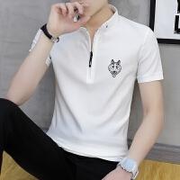 夏季短袖T恤男衬衫领男装上衣服半袖弹力修身POLO衫男士潮流体恤