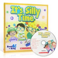 全店满300减100】Read and Sing It's Silly Time 英文原版童书 儿童韵文歌谣 附CD 包