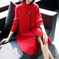 连衣裙秋冬季女装色宽松遮肚中长款羊毛针织裙